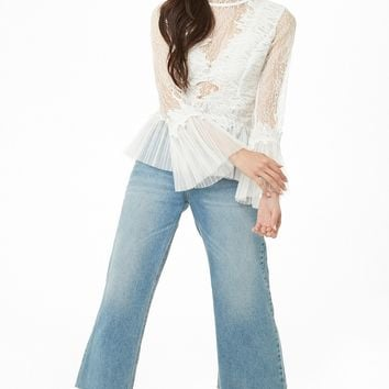 Sheer Trumpet-Sleeve Lace Top