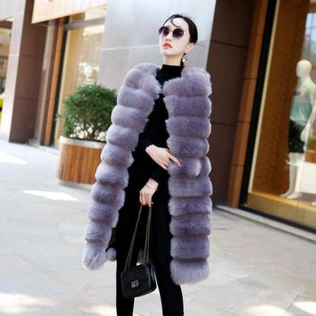 Fenghua Winter Fur Coat Women Fashion Long Faux Fur Coat Sleeveless Outerwear Women Furs Vest Warm Overcoat Casaco Feminino