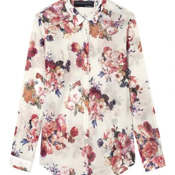 "Boyfriend shirt with ""Big Summer Flowers"" print - Shirt - Woman - The Kooples"