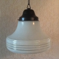 Antique Large Art Deco School Pendant Light 1920s White Modern Design