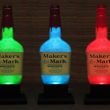 Makers Mark Color Changing Bottle Lamp LED Remote Controlled  Eco Friendly RGB LED/Party Light  -Bodacious Bottles-
