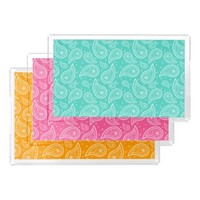 Turquoise, Pink And Orange Paisley Patterns Rectangle Serving Trays