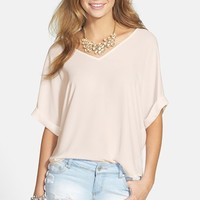 Junior Women's Lush Cuff Sleeve Woven Tee