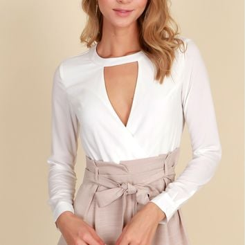 Business Chic Romper Ivory/Sand