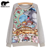New 2016 spring women hoody Long sleeve totoro print sweatshirt hoodie sweatshirt casual Female hoodie 21 model