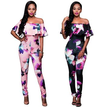 Plus Size Women Jumpsuits Autumn Spring Women Sexy Off Shoulder Bodysuits Tight-fitting Printed One piece Pants Clothes H9