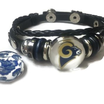 NFL Fashion Snap Los Angeles Rams Logo Leather Bracelet  With 2 Charms For Football Fans