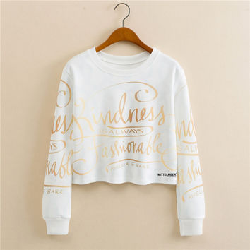 Stylish Pullover Gold Alphabet Print Long Sleeve Hoodies [9101513159]