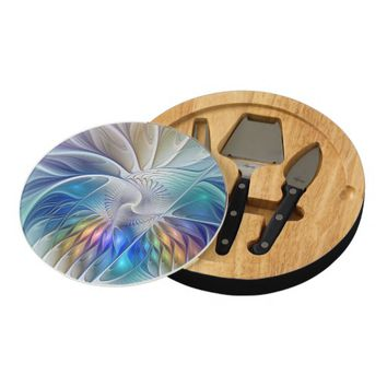 Floral Fantasy, abstract and modern Fractal Art Cheese Board