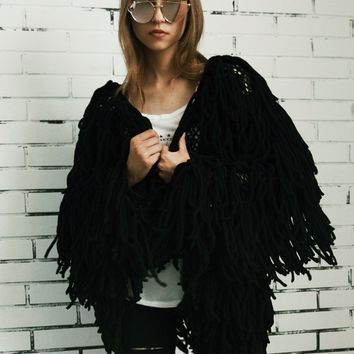 Black Tassel Open Front Faux Fur Coat