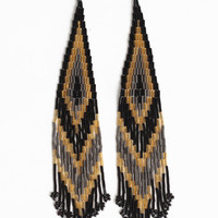 Golden Friday Beaded Earrings - $11.00 : ThreadSence.com, Your Spot For Indie Clothing & Indie Urban Culture