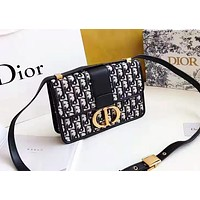 Dior Women's Fashion Casual Joker Shoulder Messenger Bag Small Square Bag Black