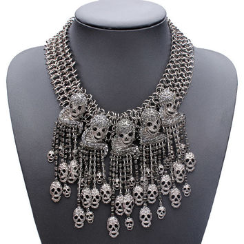 Crystal Skull Tassel Choker Statement Necklace