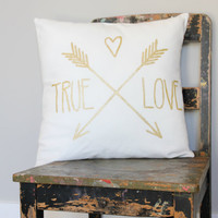 True Love Gold on White Throw Pillow Cover