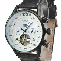 Round Shape Leather Strap Metal Skeleton Watch