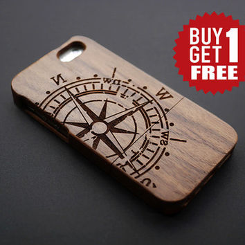 Compass Walnut Wood iPhone 6 6 plus Case - Real Wood iPhone 6 Case - Wooden iPhone 6 Case - Natural Wood iPhone 6 Plus Case - iPhone 6 Plus