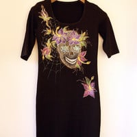 Sugar Scull Dress, Hand painted Dress, Cotton Dress, Black Dress, Little Black Dress, Scull Dress, Size S