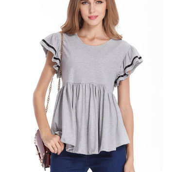 Short Sleeve High Waist Peplum Top