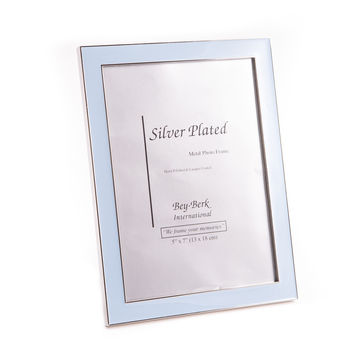 "Silver Plated with Blue Enamel 5""x7"" Picture Frame, Easel Back"