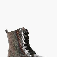 Girls Glitter Lace Up Hiker Boot | Boohoo