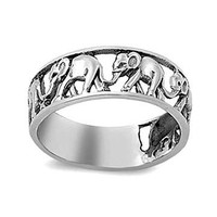 Sterling Silver Openwork Elephant Parade Band