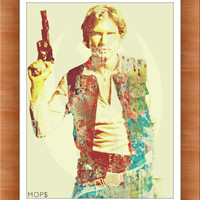 """NERF HERDER (Han Solo from STaR WaRS) 8x10"""" Digital Illustration High Gloss Print by MoPS"""