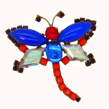 Czech Glass Red, White and Blue Husar D Dragonfly Pin Brooch