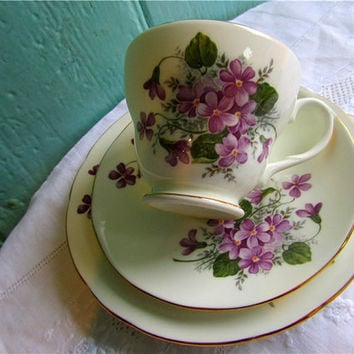 1950's Violet flower Trio English Bone China by by TheDorothyDays