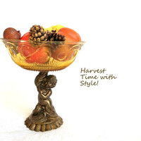 Antique Amber Glass Angel Pedestal Bowl/Hollywood Regency Style/Mad Men