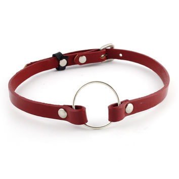 Red Leather Charm Choker