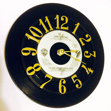 Vinyl Record Clock, Record Clock, Wall Clock, Eric Clapton Record, Recycled Record, Upcycle, Battery & Wall Hanger included, Item #60