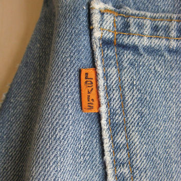 70s Levi's Jeans, Vintage 1970's Levis 7 Belt Loop Bootcut Bell Orange Tab in Light to Medium Blue Size 32/32