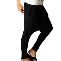 Allegra K Men Casual Pocket Front Tapered Leg Baggy Harem Pants