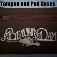 Beaver Dam Tampon and Maxi Pad Holder  Zippered Fabric Purse Pouch / Tampon Keeper