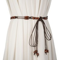 Buy Palmi Wood Beaded Woven Belt | YesStyle