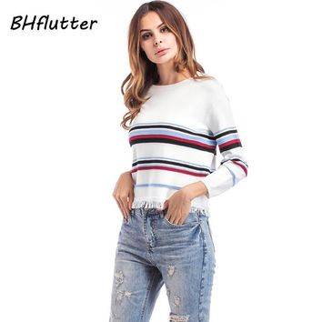 Autumn Short Sexy Sweater Women Striped Print Tassel Casual Pullover Three Quarter Sleeve Knitted Sweaters Pull