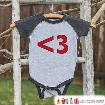 Kids Valentines Outfit - Red Heart Valentine's Day Shirt or Onepiece - Boy or Girl Valentine Shirt - Kids, Baby, Toddler, Youth - <3 - Grey