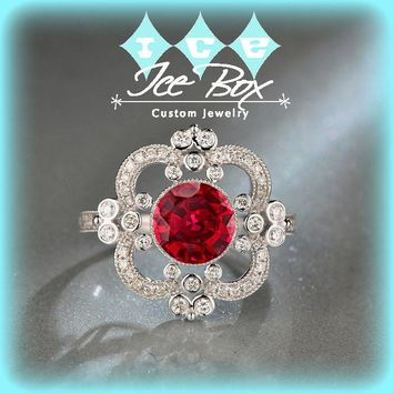 Ruby Engagement Ring 2.1ct. 7.5mm Round Cultured Ruby set in an 14k White Gold Diamond Halo - Art Deco Nouveau Vintage