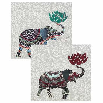 Elephant Polyester Indian Mandala Tapestry 150x150CM Wall Hanging Bohemian Bedspread Dorm Throw Blanket Home Decor Accessories
