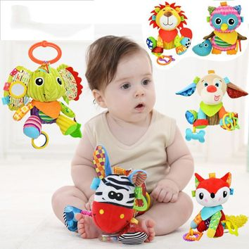 Animal Baby Bell Hand Grasp Educational Toys Infant Rattle Bell Mobility On The Crib Bed Hanging Toy Plush Teether Dolls D026