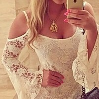 White Lace Scoop Neck Cut Out Shoulder Long Bell Sleeve Ruffle Hem Mini Dress