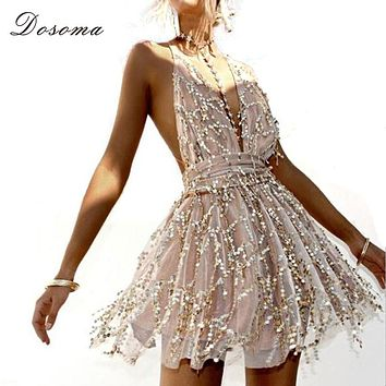 DOSOMA Women Backless Dress 2018 Summer Sequins Sexy Sleeveless Party Hippie Dresses Straps Tassel Beach Short Women's Clothing