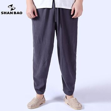 2017 summer thin section breathable comfortable cotton linen casual pants men's trousers Chinese style loose harem pants men