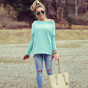 Women's off the Shoulder Lightweight Tee Shirt in Mint Green