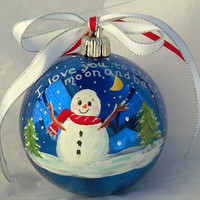 Christmas Ornament I Love You to the Moon and Back Snowman Navy Blue Red White Yellow
