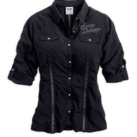 Harley-Davidson® Women's Ribbon & Wings Woven Shirt 96176-14VW
