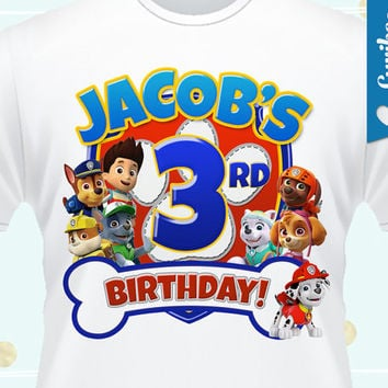 Paw Patrol Iron On Birthday Print - Personalized T-Shirt Iron On that you Print - DIGITAL FILE ONLY! Royal Blue