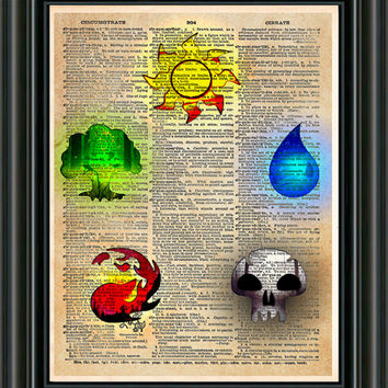 Magic the Gathering art, magic the gathering token symbols, Geeky art print