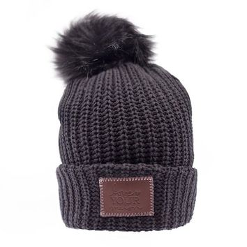 Black Pom Beanie (Black Pom) - Love Your Melon