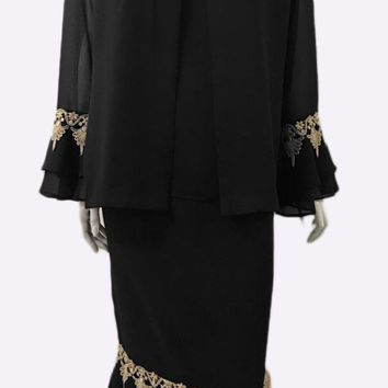 Hosanna 3960 - Tea Length Plus Size Black Dress 3 Piece